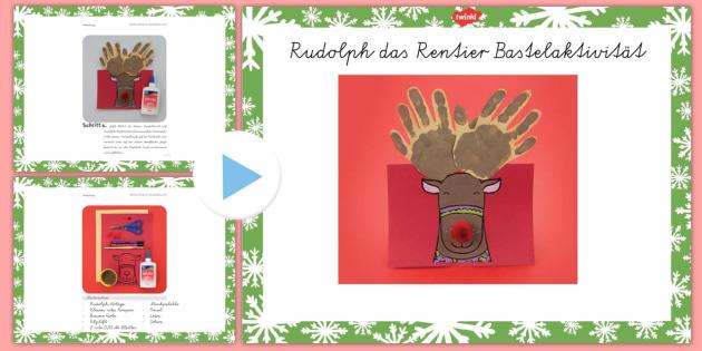 Rudolf Rentier Weihnachtskarte Bastel Anleitung PowerPoint - Basteln, Weihnachten, Weihnachtskarten, Rudolf das Renier, German