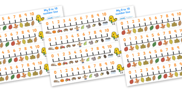 Autumn Number Line (0-10) - Counting, Numberline, Number line, Counting on, Counting back, Autumn, seasons, autumn pictures, autumn display, leaves, acorn, conker