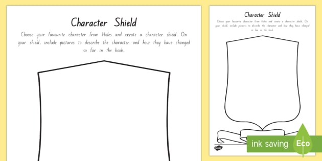 Character Shield Activity Sheet - New Zealand Chapter Chat, Chapter Chat NZ, Chapter Chat, Holes, Years 5-6, Character