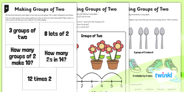 PlanIt Y1 Multiplication and Division Home Learning - grouping, sharing, same size groups, two times table, groups of two, groups of 2, differentiated activity