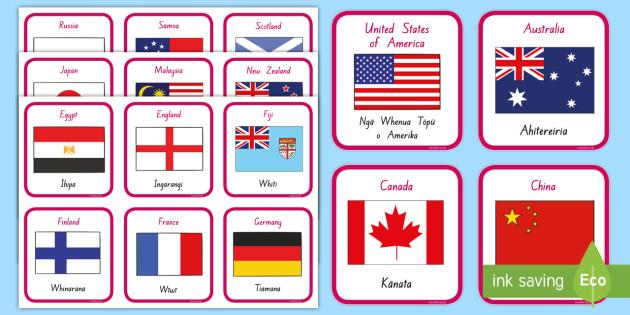 Ngā Whenua me ngā haki  Countries and Flags Flashcards