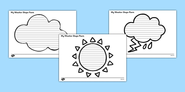 Weather Shape Poetry - seasons, shape poem, poems, poem, template