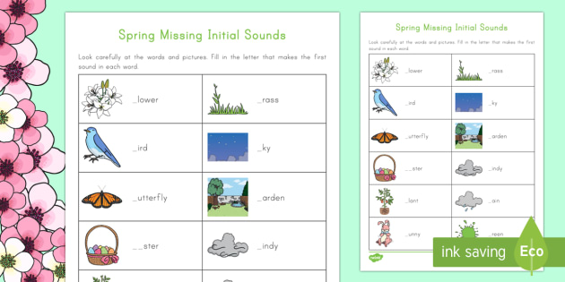 Spring K 2 Initial Missing Sounds Activity Sheet - Spring, First day of Spring, Writing, story, initial sounds,
