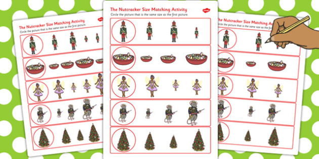 The Nutcracker Size Matching Worksheets - nutcracker, size, match