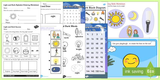 Top Ten Light and Dark Activity Pack