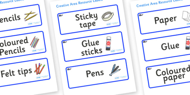 Blue Whale Themed Editable Creative Area Resource Labels - Themed creative resource labels, Label template, Resource Label, Name Labels, Editable Labels, Drawer Labels, KS1 Labels, Foundation Labels, Foundation Stage Labels
