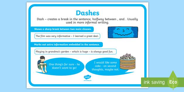Dash Punctuation Poster - dash, punctuation, poster, display