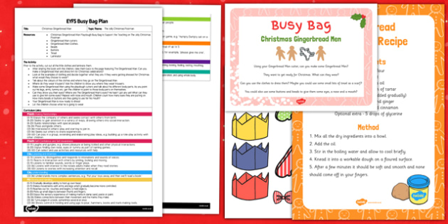 Christmas Gingerbread Man Playdough EYFS Busy Bag Plan and Resource Pack - Gingerbread, EYFS, Playdough