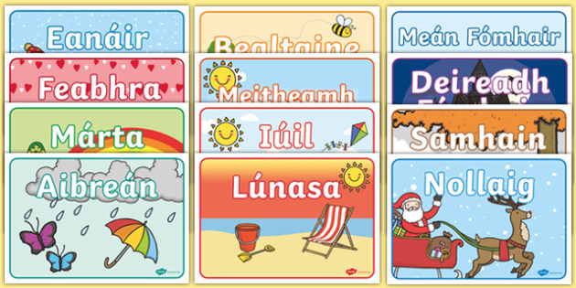 Months of the Year Display Posters - gaeilge, months of the year, months, year, display posters, display, posters
