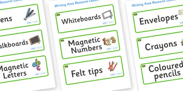 Jamaica Themed Editable Writing Area Resource Labels - Themed writing resource labels, literacy area labels, writing area resources, Label template, Resource Label, Name Labels, Editable Labels, Drawer Labels, KS1 Labels, Foundation Labels, Foundatio