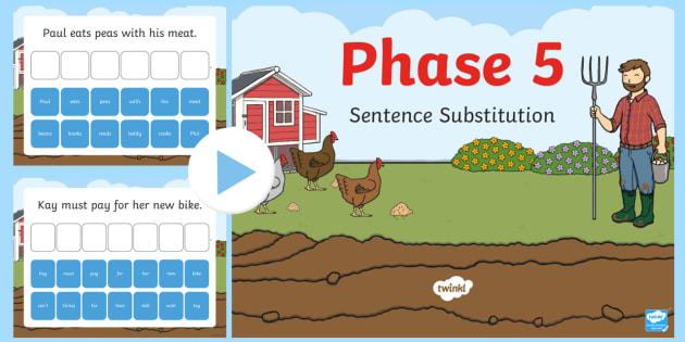 Phase 5 Sentence Substitution PowerPoint - phase 5, phase, sentence substitution, sentence, substitution, powerpoint
