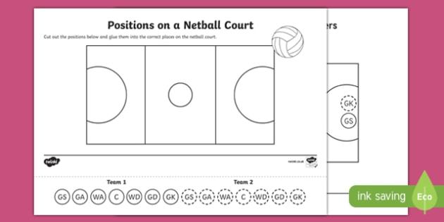 Positions on a Netball Court Activity Sheet, worksheet