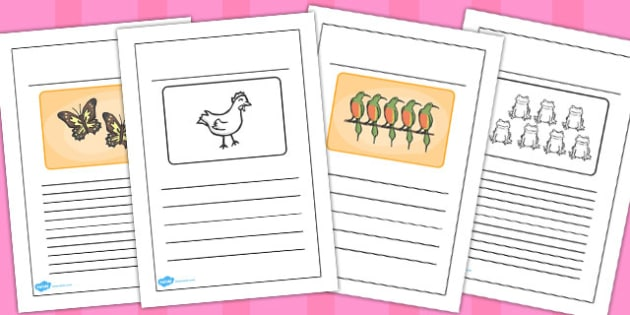 Story Black and White Lined Writing Frames to Support Teaching on Handa's Hen - frame