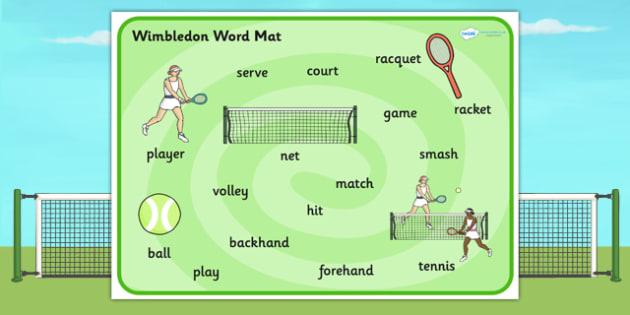 Wimbledon Themed Word Mat - sports, tennis, visual aid, keywords