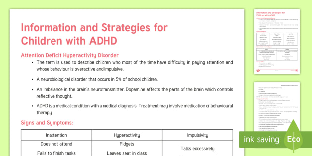ADHD Strategies and Information Adult Guidance - Attention Deficit Hyperactivity Disorder, ADHD, help, tips, senco