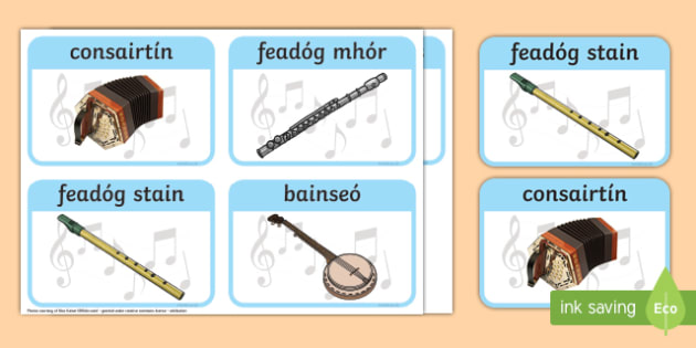 Traditional Irish Musical Instruments Display Posters Gaeilge