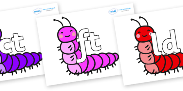 Final Letter Blends on Caterpillars - Final Letters, final letter, letter blend, letter blends, consonant, consonants, digraph, trigraph, literacy, alphabet, letters, foundation stage literacy