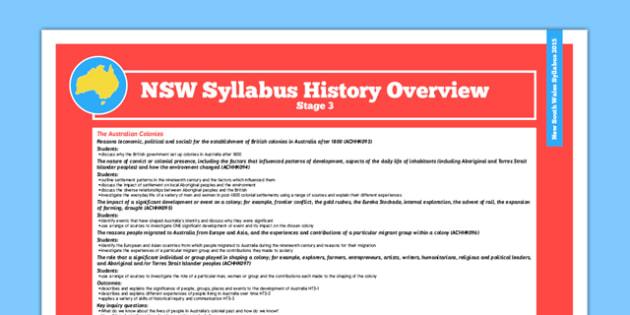 NSW Stage 3 History Syllabus Overview - australia, syllabus, nsw