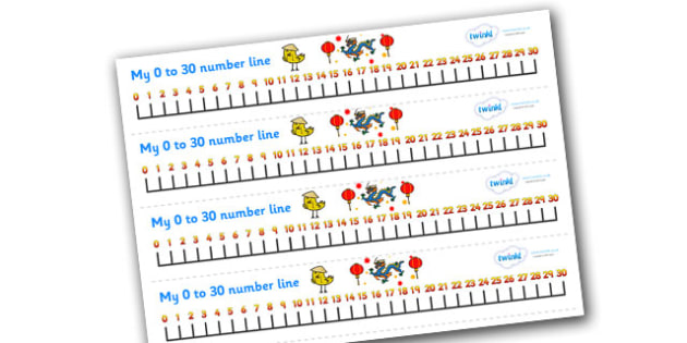 Chinese New Year Number Line (0-30) - Chinese New Year, Maths, Math, numberline, numberline display, China, lantern, dragon, chopsticks, noodles, year of the rabbit, ox, snake, fortune cookie, pig
