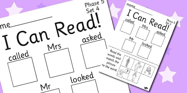 I Can Read Phase 5 Set 4 Words Activity Sheet - phase 5, activity, worksheet