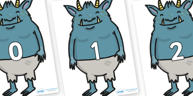 Numbers 0-31 on Trolls - 0-31, foundation stage numeracy, Number recognition, Number flashcards, counting, number frieze, Display numbers, number posters