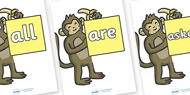 Tricky Words on Monkeys - Tricky words, DfES Letters and Sounds, Letters and sounds, display, words