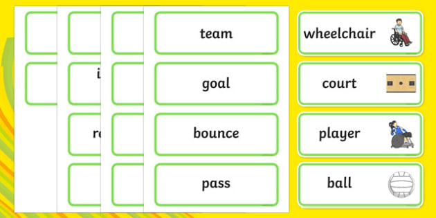 The Paralympics Rugby Word Cards - Rugby, Paralympics, sports, wheelchair, visually impaired, word card, flashcards, cards, 2012, London, Olympics, events, medal, compete, Olympic Games