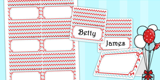 Zig Zag Birthday Party Place Names And Food Lables Red And Blue