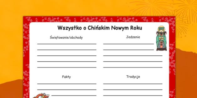 Arkusz Wszystko o Chińskim Nowym Roku po polsku - Chiny, Azja