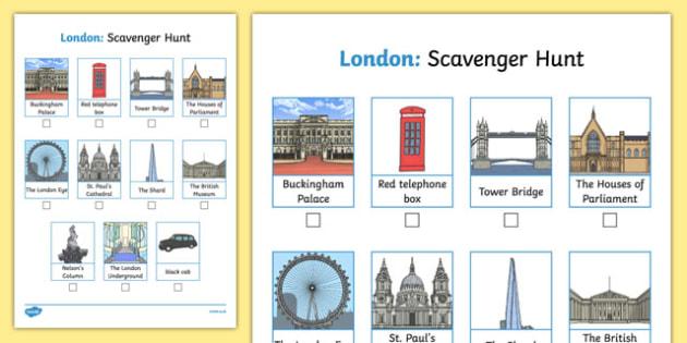 London Scavenger Hunt Activity Sheet, worksheet