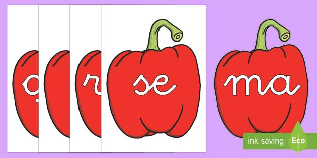 Tarjetas de sílabas: Pimientos rojosl - lecto, leer, primeros sonidos