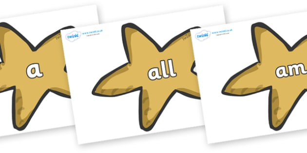 Foundation Stage 2 Keywords on Starfish - FS2, CLL, keywords, Communication language and literacy,  Display, Key words, high frequency words, foundation stage literacy, DfES Letters and Sounds, Letters and Sounds, spelling
