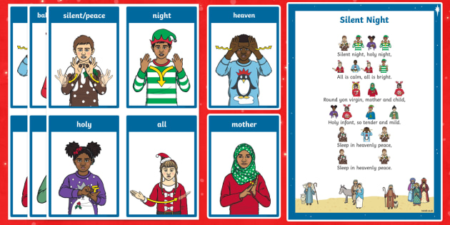 BSL Silent Night Christmas Carol Song Sheet - BSL Christmas Resources, Christmas, Sign Support, British Sign Language, Signed Christmas Songs, Sig