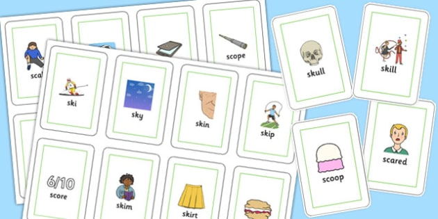 SC, SK Flash Cards - sc, sk, sound, flashcards, flash cards, sen
