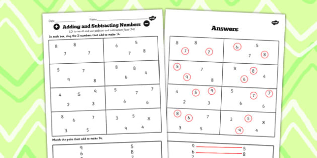 Number Facts to 20 Find Pairs to 14 Worksheet - number, facts