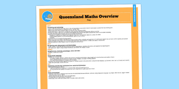 Queensland Curriculum Prep English Maths Numeracy Syllabus Overview - australia