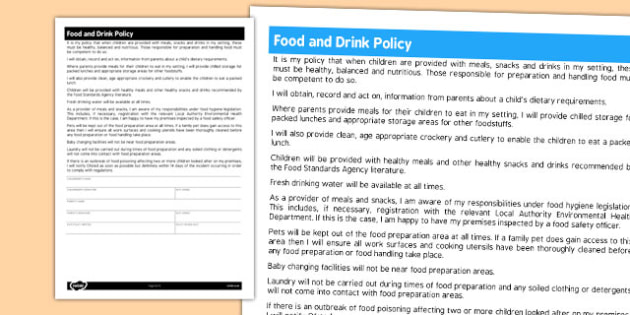 Food and Drink Policy for Childminders - childminders, policy