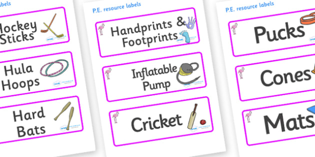 Flamingo Themed Editable PE Resource Labels - Themed PE label, PE equipment, PE, physical education, PE cupboard, PE, physical development, quoits, cones, bats, balls, Resource Label, Editable Labels, KS1 Labels, Foundation Labels, Foundation Stage L