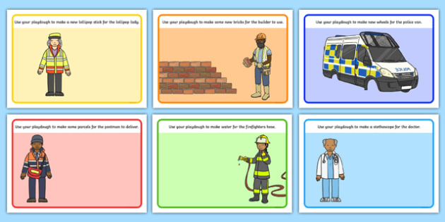 People Who Help Us Playdough Mats - People Who Help Us, playdough, mat, Doctor, Nurse, Teacher, Police, Fire fighter, Paramedic, Builder, Caretaker, Lollipop, Traffic Warden, Lunchtime supervisor, vet, postman
