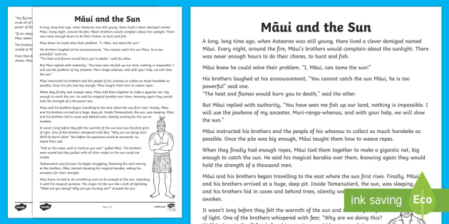 Māui and the Sun Story Print-Out