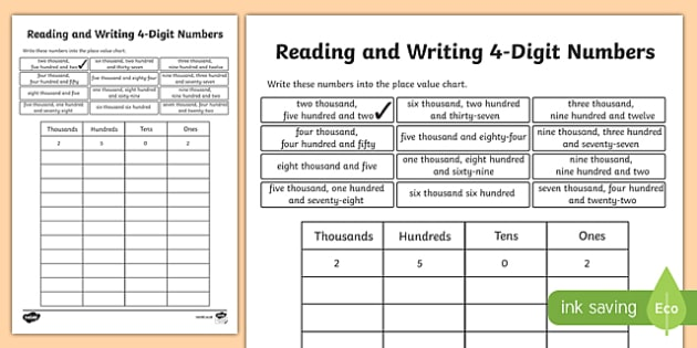 Place Value Reading and Writing 4-Digit Numbers Activity Sheet-Scottish, worksheet