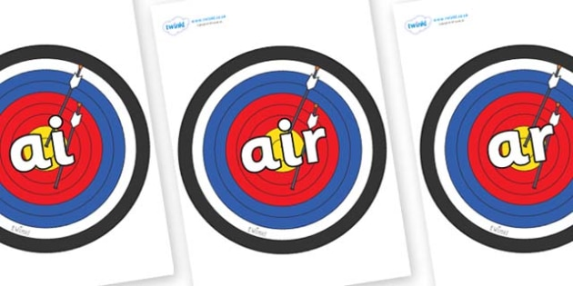 Phase 3 Phonemes on Archery Targets - Phonemes, phoneme, Phase 3, Phase three, Foundation, Literacy, Letters and Sounds, DfES, display