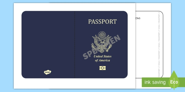 American Passport Template  Passport Design Holiday