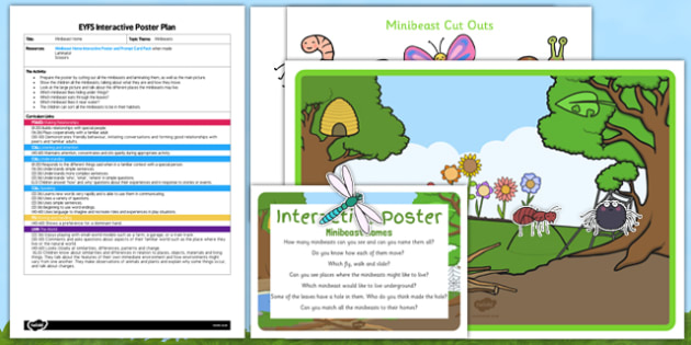 EYFS Minibeast Home Interactive Poster Plan and Resource Pack - EYFS creepy crawlies, spider, ant, caterpillar, bee, worm ,butterfly, dragonfly, woodlouse