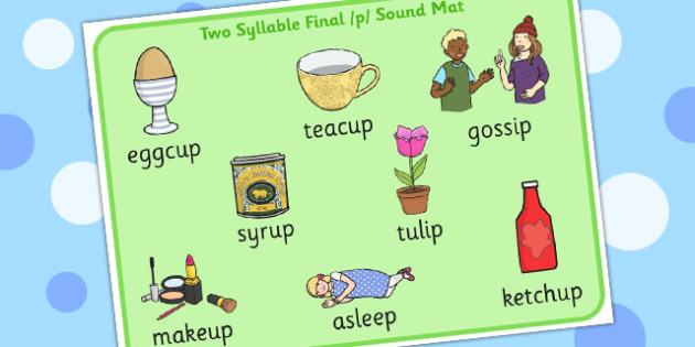 Two Syllable Final 'P' Sound Word Mat - sounds, words, cards