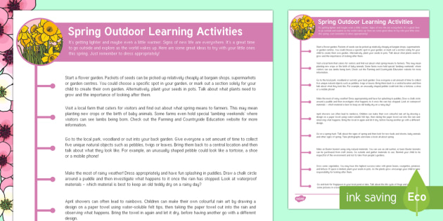 Spring Outdoor Learning Activities Parent and Carer Information Sheet - Early Years, outdoor learning, spring activities, outside, outdoors, spring, seasons, weather, new l