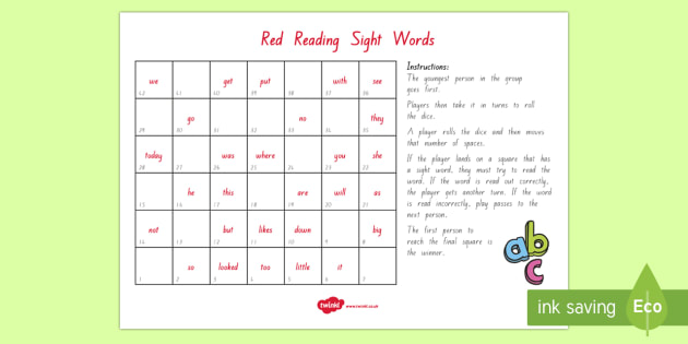 Red Reading Sight Words Board Game - Literacy, Colour Wheel, Reading, Red, Sight Words, new zealand, nz, english