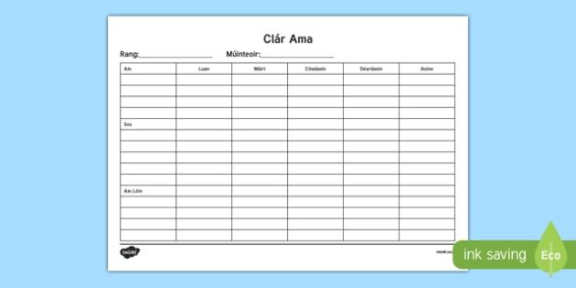 Irish Gaeilge Class Timetable Checklist