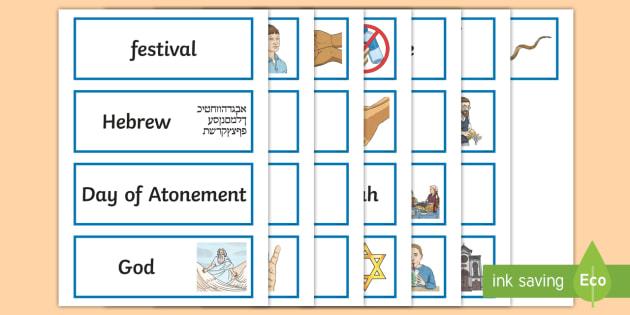 Yom Kippur Word Cards - festival, topic words, key words, jewish, KS2