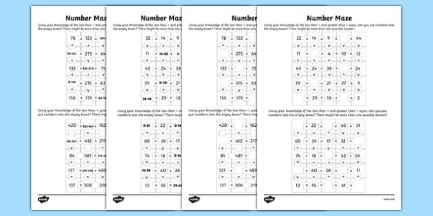 Place Value Number Maze Activity Sheet Pack, worksheet
